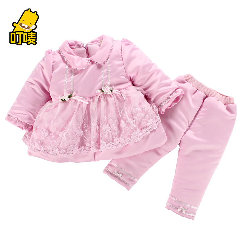 Childrens clothing baby winter baby thickening wadded jacket set girls cotton-padded jacket cotton-padded jacket 1 - 2 - 3<br><br>Aliexpress