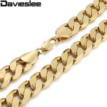 Davieslee Mens Necklace Rose Yellow Gold Chain Vintage Cut Curb Link Wholesale Hip Hop Jewelry Customized 12mm LGN270(China)