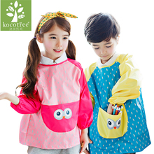 0-8 years Waterproof Baby Girl Boy Long Sleeve Cartoon Bibs Toddler Infant Burp Cloth Feeding Child drawing and painting Apron