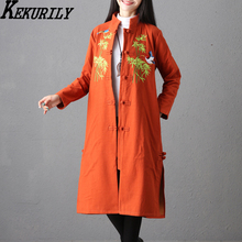 KEKURILY women vintage coat winter elegant female Chinese style retro embroidery floral red orange long wam windbreaker(China)