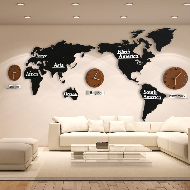 Hot Sale Creative 3D Wooden Wall Clock World Map Large Size Wall Sticker Clock Modern European Style Round Mute Clock(China)