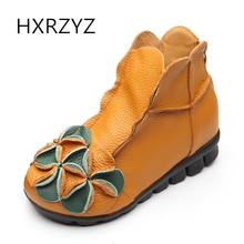 HXRZYZ women ankle boots spring/autumn flower leather boots new fashion zidder rubber bottom non-slip women red black flat shoes(China)