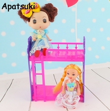 Kid's Play House Miniature Toys Doll Accessories DIY Assembly Doll's Plastic Bunk Bed For Kelly dolls For Barbie Dollhouse(China)