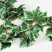 5PCS White Grape Big Leaf Artificial Vine Garland Plants Ivy Fake Plants Flowers Wedding Home Decor 7.5 feet  Artificial Ivy