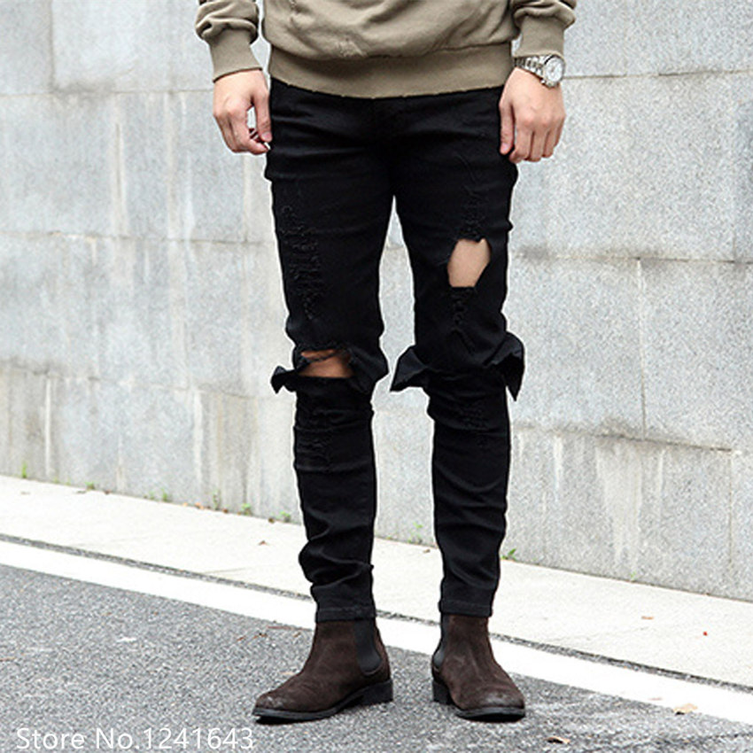 TOP new Mens Washed Knee Scratched Hole distressed Black White Slim Fit Ripped Jeans For Men Brand Designer Skinny Pencil PantsОдежда и ак�е��уары<br><br><br>Aliexpress