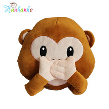 30*27cm Emoji Monkey Cushion No Talking No Listening No Saying Cute Emoticon Chair Pillow Stuffed Animal Toy(China)