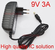 50PCS  9V 3A High quality IC solutions DC 9V 3A Switch power supply, 27W LED power adapter, EU plug 5.5mm x 2.1mm-2.5mm