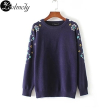 Women's Sweater 2017 European Brand Fashion Flower Sweaters for Women Casual Ladies Knitted Sweater and Pullovers YC13073