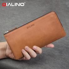QIALINO Wax Soft Genuine Leather Wallet Cases Cover For Samsung S8 S7 S6 Edge Plus Note 8 Holder Bill Site Phone Bags Pouch(China)