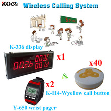 Waiter Caller System Restaurant Table Portable Call Button (1pcs display 2pcs wrist watch 40pcs call button)(China)