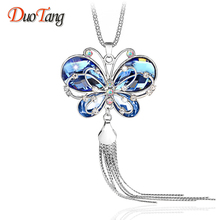 DuoTang Butterfly Pendant Necklace Trendy Long Chain Black Gun Plated Rhinestone Blue Crystal Necklace Women Accessories M0006(China)