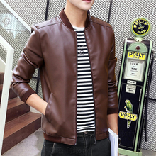 Mens PU Leather Jackets Fashion Stand Collar Coats Slim Fit Male Soring Motorcycle Leather Jacket Casual Slim Brand Clothing(China)