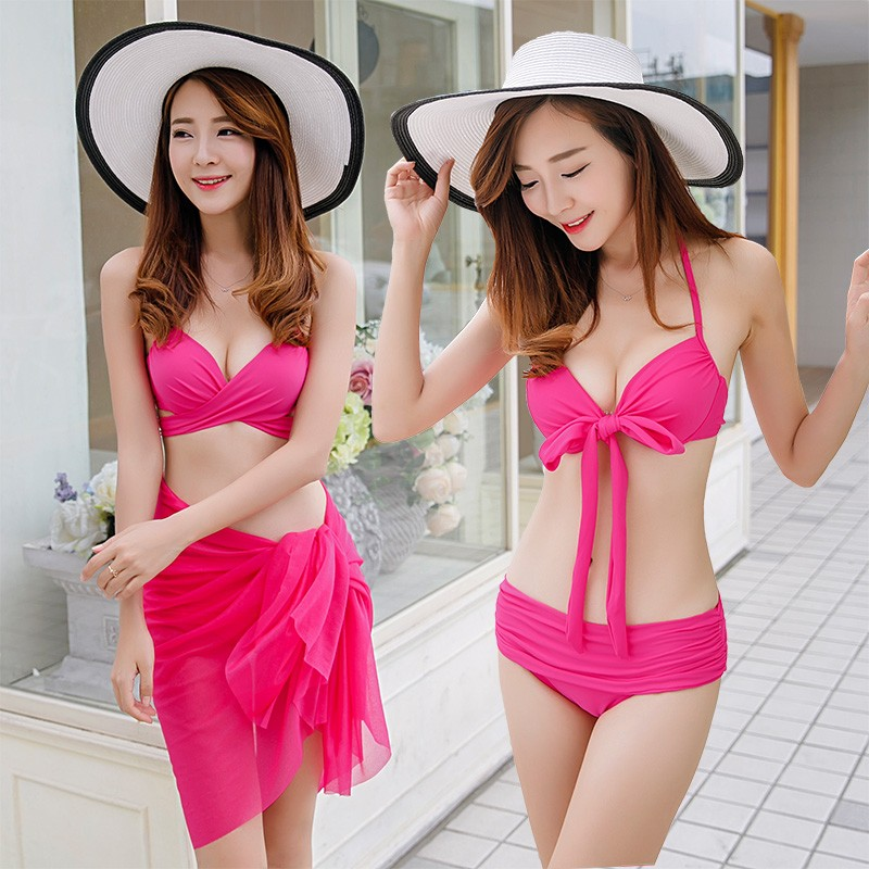 2018 New Women Swimwear Sexy Solid Color Push Up Halter Three Piece Sets Maillot De Bain Thin Brazilian Bathing Bikinis Sets<br>