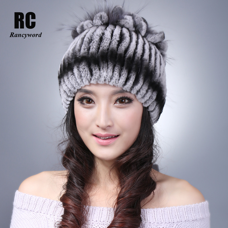 [Rancyword] 100% Natural Fur Hat Women Real Rex Rabbit Beanie Fox Fur Flower 2017 New Thick Female Winter Knitted Fur Hat RC1299