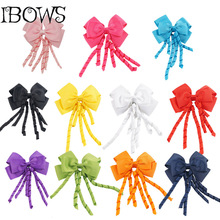 4.5 Inch Cute Infant Girl Solid Flower Korker Ribbon Hair bows With Gum Alligator Hair Clips For Children(China)