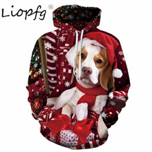 2017 autumn and winter burst Christmas puppy digital print tide brand women's hoods loose hooded couple clothes 3283