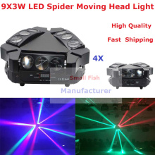 4XLot NEW Moving Head Light Mini LED Spider 9X3W RGB 3IN1 Beam Light For Professional Stage Party Wedding Events Lighting