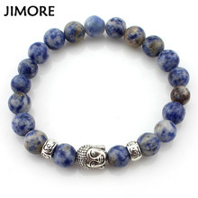 Buy JIMORE Lava Stone Beads Bracelet Women Men Jewelry 2017 Blue Natural Stone Bracelets Buddha Bracelets & Bangles ANN716 for $1.00 in AliExpress store