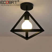 ECOBRT Nordic style triangle black ceiling light with E27 bulb iron foyer bed room study corridor ceiling lighting fixtures(China)