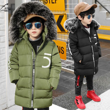 FYH  Kids Clothing Winter Boys Fur Hooded Parka Warm Thick Cotton Padded School Children's Winter Jackets Kids Boys Down Coat