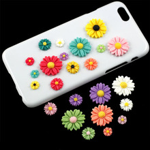 20Pcs/lot DIY Candy Color 12mm Flat Back Resin Scrapbook Miniatures 3D Resin Sunflower For Phone Embellishment Resin Crafts