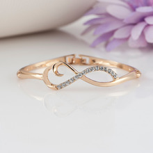 High Quality High Crystal Hinged Bangles, women Rhinestone Crystal Infinity Bangles for Valentine's Day Gift(China)