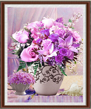 DIY 5D Round Diamond Purple Flowers Painting Cross Stitch Round Diamond Embroidery Needlework Patterns Home Decor for Gift