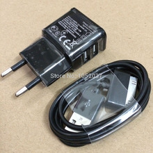 Dual 2 Ports USB Charger Power Adapter +Data Cable Charging SYNC Cord for Samsung Galaxy tab 2 P1000 P7500 P5100 P3100 N8000 7.0