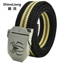 Men's tactical belt Spider logo buckle Military canvas Width 3.8CM Thickness 4MM Length 110/140/160CM Designers high quality(China)