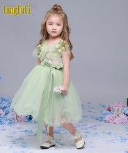 Lovely Tulle Flower Girl Dresses Ruffles Ribbons Girl Pageant Gowns First Communion Girl Dress Real Photos