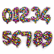 Free Shipping Holiday Festival Multicolor Wave Point Digital Balloons Birthday New Year decoration Numbers Helium Foil Balloons(China)