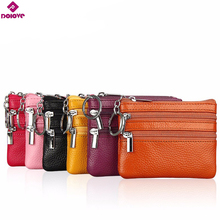 DOLOVE Genuine Leather Small Wallet Women Coin Bag double zipper Womens Wallets and Purses Leather Wallet Small Clutch Bag(China)