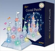 3D Music Flash Crystal Puzzle Jigsaw Model DIY Castle IQ Toy Town Decoration(China)