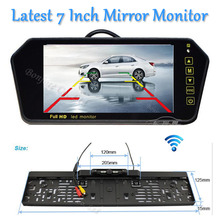 "Parking Wireless HD 7"" LCD car Mirror Monitor DVD/VCD/GPS/TV Screen Car Europe License Plate Frame Rearview Camera Infrared Led"