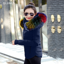 SIJIMZ Winter Jacket Women 2017 winter warm down jacket women thick paragraph Artificial Raccoon Fur Collar women's coat jacket(China)