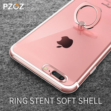 Pzoz for iphone 7 case silicone transparent original luxury for apple iphone 7 plus case with ring holder accessories Finger(China)