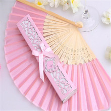Free shipping,Hot selling 12 pcs/lot pink Folding Elegant Paper Hand Fan Wedding&Party Favors