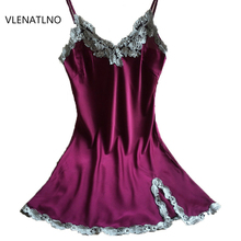 Ladies Sexy Silk Satin Night Dress Sleeveless Nighties V-neck Nightgown Nightdress Lace Sleepwear Nightwear For Women(China)