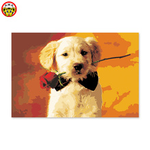 A dog delivers a rose cartoon digital oil painting by hand.(China)
