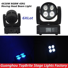 6Pcs/Lot Big Discount LED Moving Head Wash Light 4X20W RGBW Quad Color 80W DMX Stage Beam Effect Lights With Advanced 9/16 Chs
