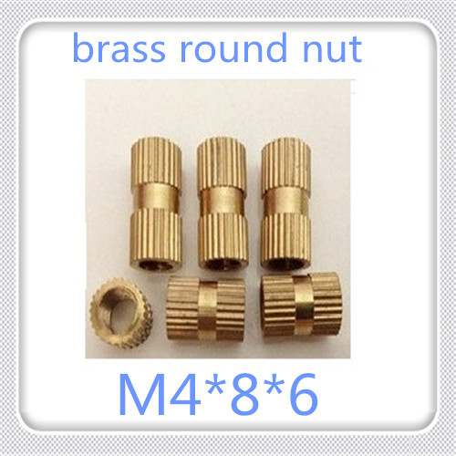 1000pcs/lot High Quality M4*8*6 Through-hole Brass Insert Round Nut / Knurled Nut For Injection Moulding<br>