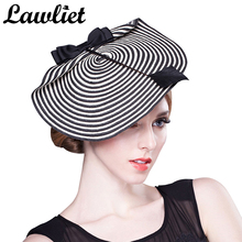 Elegant Fascinator Hats for Women Summer Wide Brim Straw Ladies Dress Hat with Feather Party Wedding Church Kentucky Derby Hat(China)