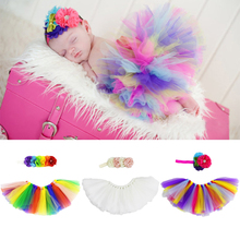 Newborn Photography Props Baby Infant Rainbow Princess Tutu Skirt and Flower Headband Bebe Girl Fluffy Tulle Skirt Accessories(China)