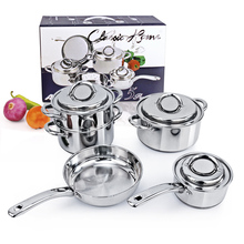 Top Quality Cooking Tools 8PC Of Stainless Steel Cookware Set Saupcepan Casserole Frypan Cooking Pots And Pans Jogo De Panelas(China)