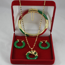 "DYY 919 +++elegant 7.5"" green and red bracelet, green earings and 18kgp dragon pendant fashion jewelry sets for lady(China)"