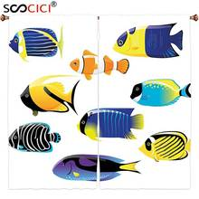 Window Curtains Treatments 2 Panels,Ocean Animal Decor Types of Sea Creature with Atlantic Cod Bonito Palette Surgeonfish Image(China)