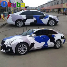 Blue Black White Arctic Snow Camo Vinyl Car Wrap Sticker Pixel Camouflage Car Sticker with air free 5m 10m 15m 20m(China)