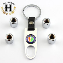 Alfa Romeo Emblem Keyring & Tyre Valve Caps Set Car Styling for Alfa Romeo 159 156 147 Wheel Valve Cap Car Keychain Accessories