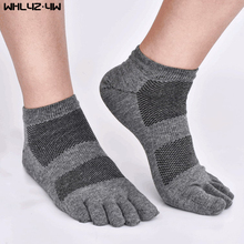 WHLYZ YW 10pieces=5pairs=1lot spring and summer five fingers socks Mesh compression toe socks men cotton boat crew socks short(China)