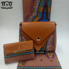 H&Q New arrival african wax bags 3 pieces/set,high quality woman shoulder bag with 6 yards real hollandais wax fabric(China)